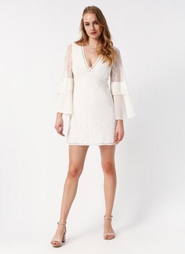 Koton İspanyol Kol V Yaka Mini Elbise Beyaz